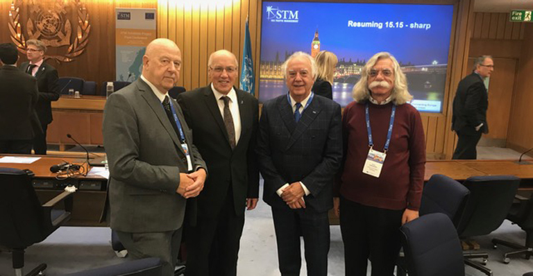 From left to right: Fredrik J. van Wijnen, General Secretary CESMA. Jesús Carbajosa  (CIMNE), Kurt Bodewig (European Coordinator for Sea Motorways) and Sotos Voskarides (Cyprus University of Technology)
